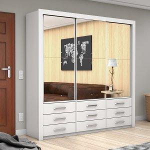 Guarda Roupa Casal 3 Espelhos 3 Portas de Correr Anjos Premium Carioca Móveis Branco