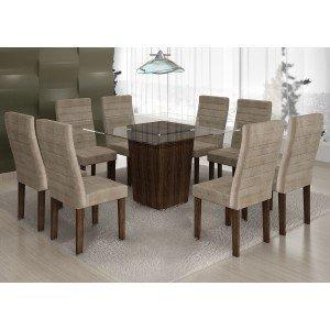 Conjunto Sala de Jantar Mesa Tampo Vidro 8 Cadeiras Ômega Cel Móveis Malbec/ Suede Animale Bege