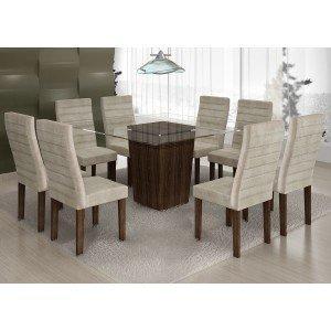 Conjunto Sala de Jantar Mesa Tampo Vidro 8 Cadeiras Ômega Cel Móveis Malbec/ Suede Animale Cru