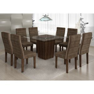 Conjunto Sala de Jantar Mesa Tampo Vidro 8 Cadeiras Ômega Cel Móveis Malbec/ Suede Animale Marrom