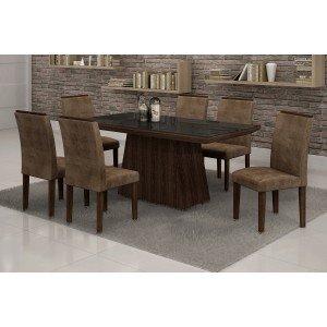 Conjunto Sala de Jantar Mesa Tampo Vidro Preto 6 Cadeiras Sevilha Cel Móveis Malbec/ Suede Animale Marrom