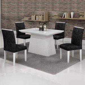 Conjunto Sala de Jantar Mesa Tampo em Vidro Branco 4 Cadeiras Sevilha 120cm Cel Móveis Branco/ Veludo Envelhecido 69