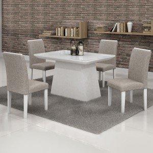 Conjunto Sala de Jantar Mesa Tampo em Vidro Branco 4 Cadeiras Sevilha 120cm Cel Móveis Branco/ Linho 80