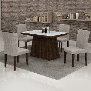 Conjunto Sala de Jantar Mesa Tampo em Vidro Branco 4 Cadeiras Sevilha 120cm Cel Móveis Malbec/ Linho 80