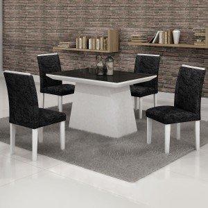 Conjunto Sala de Jantar Mesa Tampo em Vidro Preto 4 Cadeiras Sevilha Cel Móveis Branco/ Veludo Envelhecido 69