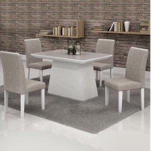 Conjunto Sala de Jantar Mesa Tampo em Vidro Off White 4 Cadeiras Sevilha Cel Móveis Branco/ Linho 80