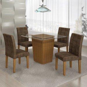 Conjunto Sala de Jantar Mesa 4 Cadeiras Istambul Siena Móveis Nogueira/ Suede Animale Marrom