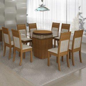Conjunto Sala de Jantar Mesa Tampo Vidro com Prato Giratório Ômega 8 Cadeiras Ravena Cel Móveis Nogueira/ Suede Animale Cru