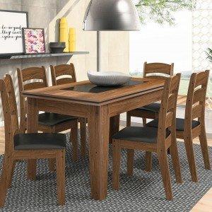 Conjunto Sala de Jantar Mesa Madri 6 Cadeiras Monique Celta Móveis Amêndoa/Preto