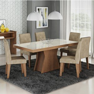 Conjunto Sala de Jantar Mesa Vidro Branco Olívia 6 Cadeiras Milena Siena Móveis Savana/Suede Marfim