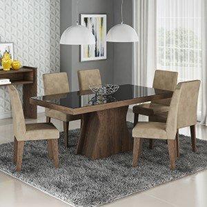 Conjunto Sala de Jantar Mesa Vidro Preto Olívia 6 Cadeiras Milena Siena Móveis Marrocos/Suede Marfim