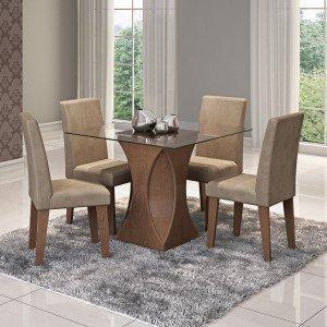 Conjunto Sala de Jantar Mesa Tampo em Vidro Andréia 4 Cadeiras Milena Cimol Savana/Suede Marfim
