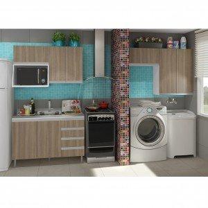 Cozinha Compacta com Balcão sem Tampo e Armário Multiuso Veneza Completa Móveis Andorra