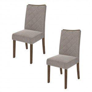 Conjunto 2 Cadeiras Golden Dj Móveis Rústico Malbec/Pena Bege