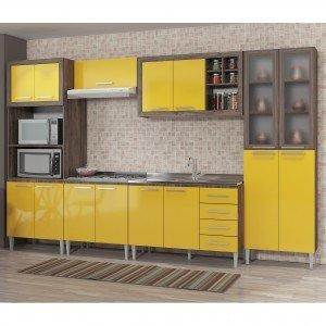 Cozinha Completa 6 Módulos 15 Portas 4 Gavetas sem Tampo e Cuba Style Fellicci Naturalle/Amarelo
