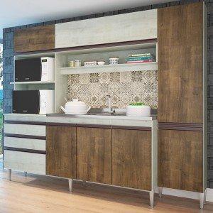 Cozinha Compacta 267 Estrela (Não Acompanha Pia e Torneira) Casamia Snow/Dark