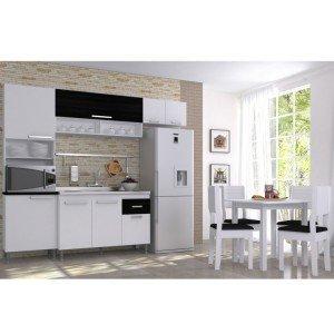 Cozinha Completa Italia com Mesa e 4 Cadeiras (Não Acompanha Pia)Indekes Branco