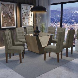 Conjunto Sala de Jantar Mesa Tampo de Vidro e 8 Cadeiras Sardela Kappesberg Marrom Walnut/Marrom Claro