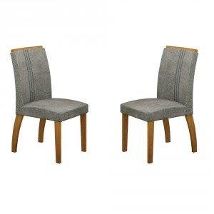 Conjunto 2 Cadeiras Estofadas Alemanha Leifer Imbuia Mel/África