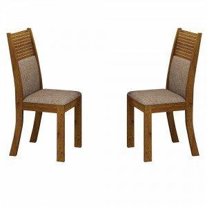 Conjunto 2 Cadeiras Estofadas Havaí Leifer Canela/Linho Bege