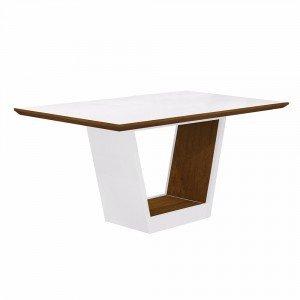 Mesa de Jantar Retangular Tampo MDF/Vidro Alemanha Leifer Flex Color Branco/Imbuia Mel/Borda Imbuia Mel