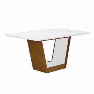 Mesa de Jantar Retangular Tampo MDF/Vidro Alemanha Leifer Flex Color Imbuia Mel/Branco