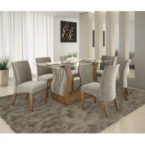Conjunto Sala de Jantar Fortuna com 6 Cadeiras Alto Brilho Prêmio LJ Móveis Castanho