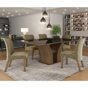 Conjunto Sala de Jantar Mesa Tampo MDF/Vidro 6 Cadeiras Leblon LJ Móveis Castanho