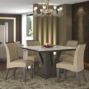 Conjunto Sala de Jantar Mesa Tampo MDF/Vidro 4 Cadeiras Jade LJ Móveis Malbec