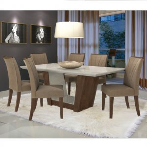 Conjunto Sala de Jantar Mesa Tampo MDF/Vidro 6 Cadeiras Apogeu VI Móveis Lopas Imbuia/Animale Bege