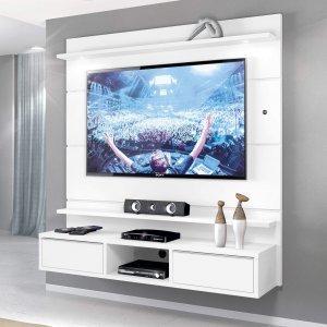 Painel para TV até 60 Polegadas com LED 2 Gavetas Supremo Zanzini Branco Artico