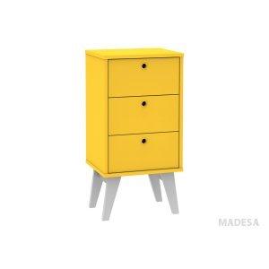 Gaveteiro 3 Gavetas com Pés Tutti Colors 3017 Madesa Amarelo