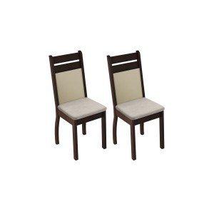 Conjunto 2 Cadeiras 4237X Madesa Tabaco/Pérola