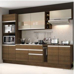 Cozinha Completa com Balcão sem Pia e Tampo 7 Peças Madesa Rustic/Bp Bronze