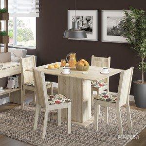 Conjunto Sala de Jantar Mesa e 4 Cadeiras Lexy Madesa Acácia/Hibiscos