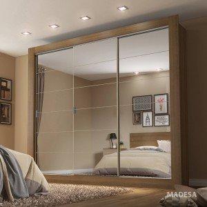 Guarda Roupa Casal com Espelho 3 Portas de Correr Campos Plus Madesa Rustic/Acácia