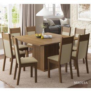 Conjunto Sala de Jantar Mesa 8 Cadeiras Panamá Madesa Rustic/Crema/Pérola