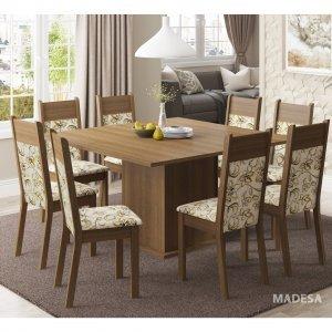 Conjunto Sala de Jantar Mesa 8 Cadeiras Panamá Madesa Rustic/Lirio Bege