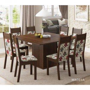Conjunto Sala de Jantar Mesa 8 Cadeiras Panamá Madesa Tabaco/ Floral Hibiscos