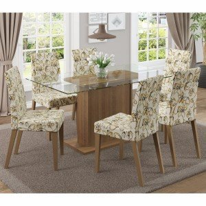 Conjunto Sala de Jantar Mesa 6 Cadeiras Carla Madesa Rustic / Lírio Bege