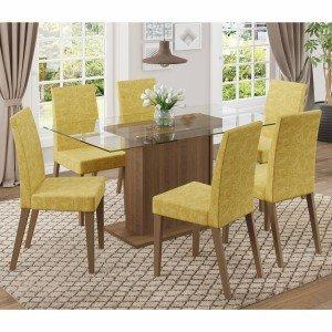 Mesa jantar 6 cadeiras madeira macica madeira madeira for Mesa sonetto cristal 4 cad cristal rustic bege