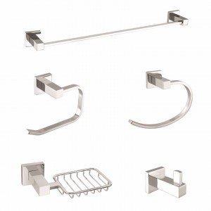 Kit Acessórios para Banheiro 5 Peças Athena Meber Metais Cromado