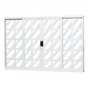 Janela de Correr Aço 4 Folhas MGM Minas Sul 100cmx150cm  Vidro Liso Incolor Branco