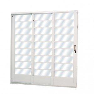 Porta de Correr Aço 3 Folhas com Vidro Liso Minas Sul MGM 215cmx160cm Branco