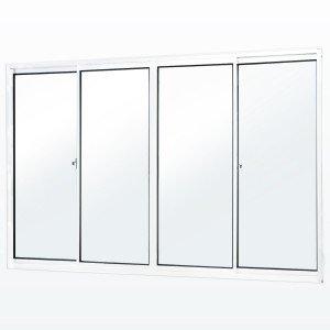 Janela de Correr 4 Folhas 2 Fixas Soft MGM 5,5 100 x 100 Vidro Mini Boreal Branco