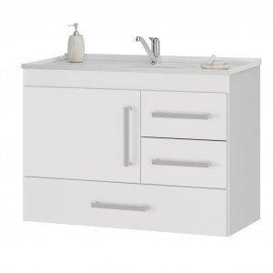 Gabinete para Banheiro com Cuba 3 Gavetas Madri MGM Móveis (Não Acompanha Torneira) Branco