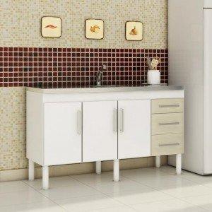 Balcão de Cozinha 3 Portas 134cm Roma MGM Móveis (Balcão Não Acompanha Tampo e Pia) Branco/Acácia
