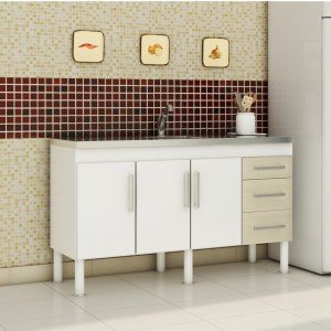 Balcão de Cozinha 3 Portas 144cm Roma MGM Móveis (Balcão Não Acompanha Tampo e Pia) Branco/Acácia