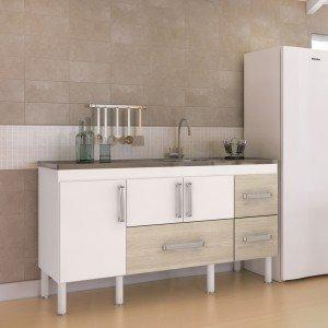 Balcão de Cozinha 3 Portas 134cm Bari MGM Móveis (Balcão Não Acompanha Tampo e Pia) Branco/Acácia