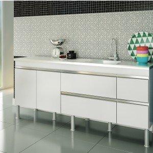Balcão de Cozinha 3 Portas 193,5cm Ibiza MGM Móveis (Balcão Não Acompanha Tampo e Pia) Branco